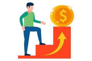 un uomo scala la scala della carriera verso soldi più redditizi. illustrazione vettoriale piatta.