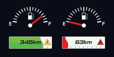 indicatore del carburante. indicatore livello carburante. indicatore di carica del veicolo elettrico. vettore