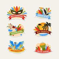 set di adesivi di carnevale parata brasiliana festival di rio vettore