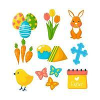 collezione di icone di Pasqua in design piatto vettore