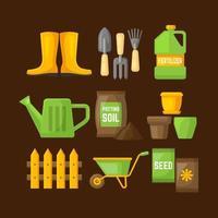 collezione di icone di giardinaggio in design piatto vettore