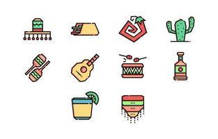 collezione di icone minimalista cinco de mayo vettore