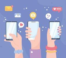 mani con smartphone, concetto di social media vettore
