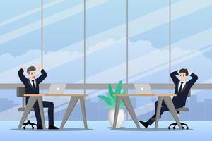uomo d'affari che lavora in emozioni diverse. due uomini d'affari hanno una situazione di contrasto nel lavoro. uno può finire ma l'altro è molto confuso e occupato. illustrazione disegno vettoriale. vettore