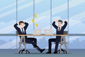 uomo d'affari che lavora in diverse emozioni. due uomini d'affari hanno una situazione di contrasto nel lavoro. uno può fare profitti ma l'altro è molto confuso e impegnato. illustrazione disegno vettoriale. vettore