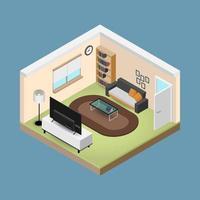 concept room, composizione 3d isometrica con un divano e una grande tv a grande schermo, un soggiorno con molti mobili, una finestra e una porta aperta dal design moderno vettoriale. vettore