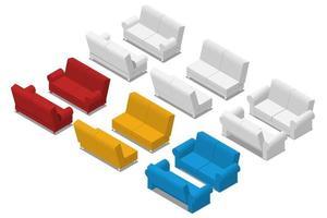 set divano isometrico isolato su sfondo bianco. divano 3d realistico, mobili per ufficio. elemento interno moderno del soggiorno. disegno di illustrazione vettoriale. vettore