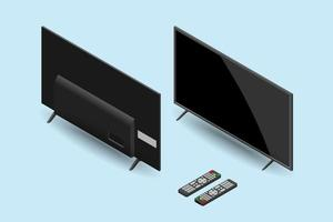 illustrazione 3d realistica della tv led moderna nera a grande schermo con telecomando, angolo isometrico anteriore e posteriore, disegno di illustrazione vettoriale. vettore