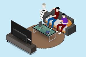 personaggio di coppia di uomini che gioca una console di gioco su un grande schermo tv a led e seduto sul divano in un soggiorno per intrattenere nel concetto di interni di casa moderna disegno di illustrazione isolato piatto vettoriale. vettore