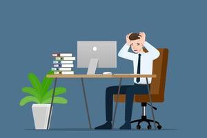 uomo d'affari con un'emozione facepalm di gesti. gli impiegati avevano mal di testa, delusione o vergogna per il lavoro. illustrazione vettoriale concept design.