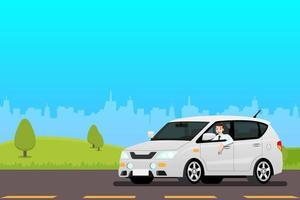 felice imprenditore alla guida di una nuova auto per lavorare. uomo d'affari orgoglioso guida un costoso veicolo bianco moderno. vettore
