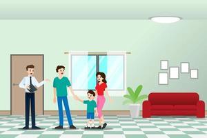 l'agente immobiliare mostra la nuova bella residenza moderna in vendita a cliente con famiglia. illustrazione vettoriale in design piatto.