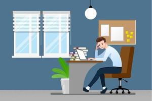 uomo d'affari con un gesto facepalm emozione. gli impiegati avevano mal di testa, delusione o vergogna per il lavoro. illustrazione vettoriale concept design.