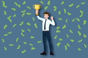 un giovane uomo d'affari di successo in vestito con la faccia felice che tiene una coppa del trofeo d'oro. uomini d'affari sollevano un premio vincitore sotto la pioggia di soldi. un concetto di successo del personaggio maschile leader. vettore