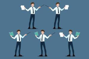 insieme di pose di uomo d'affari. che punta a educare, presentazione, riunione, conferenza, mentore, coach su seminario, concetto di formazione relazione annuale. briefing aziendale e discussione di analisi. vettore
