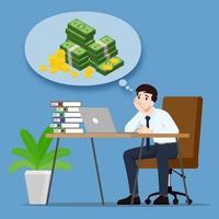 uomo d'affari che pensa o sogna di guadagni in denaro e vuole essere ricco. un dipendente ha l'obiettivo di avere successo e di essere più ricco. disegno di illustrazione vettoriale. vettore