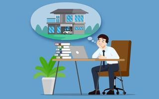 uomo d'affari pensando o sognando di acquistare una nuova bella casa moderna. un dipendente ha l'obiettivo di possedere una proprietà personale e lavorare per il successo. disegno di illustrazione vettoriale. vettore