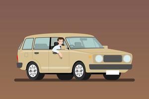 uomo d'affari alla guida di una vecchia macchina per lavorare. gli uomini d'affari guidano un veicolo giallo chiaro arrugginito a buon mercato. disegno di illustrazione vettoriale isolato.
