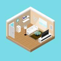 concept room isometrics composizione 3d con un divano e una grande tv a grande schermo, un soggiorno con una finestra e una porta aperta dal design moderno vettoriale. vettore
