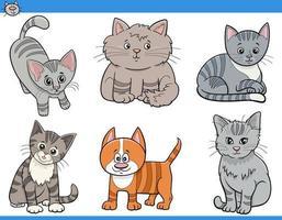set di personaggi divertenti di gatti e gattini dei cartoni animati vettore