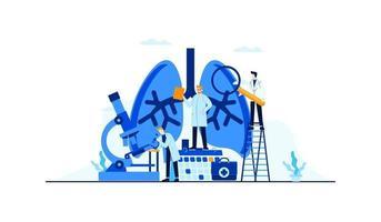 illustrazione piana di vettore di malattia dei polmoni ricerca del medico per progettazione di massima di trattamento
