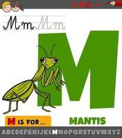 lettera m dall'alfabeto con insetto mantide dei cartoni animati vettore