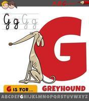lettera g dall'alfabeto con cane levriero dei cartoni animati