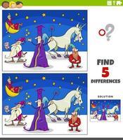 differenze gioco educativo con personaggi fantasy vettore