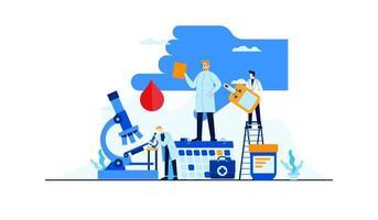 diabete illustrazione vettoriale piatto analisi del sangue livello di zucchero la ricerca del medico per il concetto di trattamento