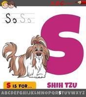 foglio di lavoro lettera s con cane di razza shih tzu dei cartoni animati vettore