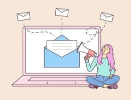 marketing digitale, concetto di campagna e-mail. giovane donna ragazza al computer portatile, tenendo parlando con un megafono. illustrazione vettoriale piatta