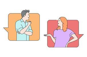 comunicazione online, social media o concetto di rete. uomo, donna coppia in chat, messaggistica utilizzando app di chat o social network. vettore