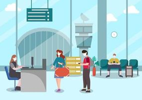 new normal, vector illustration persone in maschera osservano l'allontanamento sociale nell'aeroporto interno