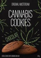 biscotti alla cannabis, design della confezione nera con biscotti alla cannabis e foglie di marijuana in stile doodle su sfondo. copertina nera per prodotti a base di cannabis vettore