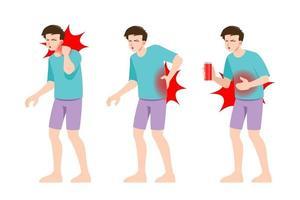 set di uomo che sente dolore in diverse parti del corpo. persone in zone dolorose con emicrania e mal di testa, mal di schiena e mal di stomaco. vettore