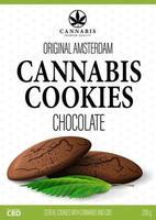 design della confezione bianca con biscotti al cioccolato alla cannabis e foglie di marijuana in stile volumetrico. copertina bianca per prodotti a base di cannabis in stile minimalista vettore