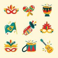 set di icone del festival di rio vettore