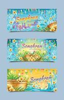 modelli di banner del festival di songkran vettore