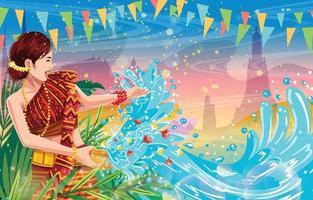 Songkran donna che spruzza acqua concetto di sfondo vettore