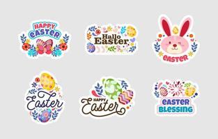felice pasqua sticker design set vettore