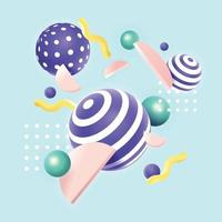 3d forme geometriche concetto di sfondo in colori pastello vettore