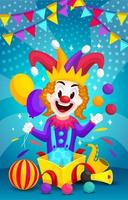 regalo speciale con clown sorpresa vettore