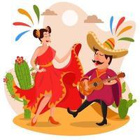 festival cinco de mayo cantando e ballando vettore