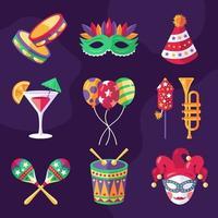 set di icone di carnevale festival di rio vettore