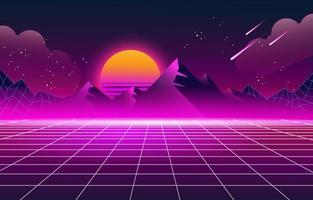 sfondo futuristico retrò anni '80 vettore