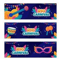 festival di rio con icone colorate vettore
