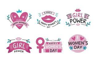 collezione di adesivi per il giorno delle donne disegnati a mano vettore