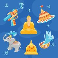 collezione di icone di songkran vettore