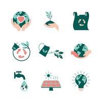 raccolta di icone della giornata della terra vettore
