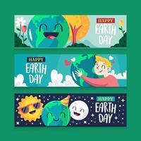 set di banner per la giornata della terra vettore